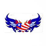 Heart Flag Aluminum License Plate