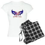 God Bless America Heart Flag Women's Light Pajamas