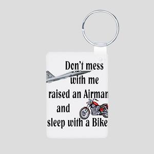 Raised Airman Sleep Biker Aluminum Photo Keychain