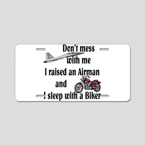Raised Airman Sleep Biker Aluminum License Plate