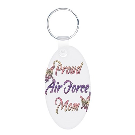 Proud Air Force Mom Aluminum Oval Keychain