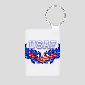 USAF Heart Flag Aluminum Photo Keychain