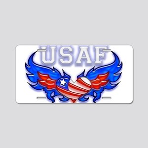 USAF Heart Flag Aluminum License Plate