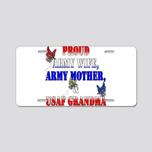 Army Wife Mother USAF Grandma Aluminum License Pla