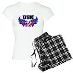 USN Heart Flag Women's Light Pajamas