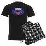USN Heart Flag Men's Dark Pajamas