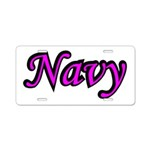 Pink and Black Navy Aluminum License Plate