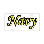 Yellow and Black Navy Aluminum License Plate