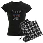 Barbed Wire Proud USN Wife Women's Dark Pajamas
