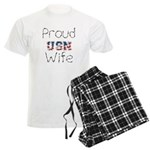 Barbed Wire Proud USN Wife Men's Light Pajamas