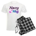 Navy Baby pink anchor Men's Light Pajamas