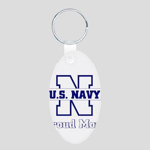 Proud Navy Mom Aluminum Oval Keychain