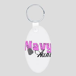 Navy Aunt Aluminum Oval Keychain