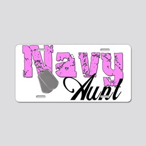 Navy Aunt Aluminum License Plate