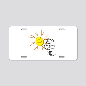 God Loves Me Aluminum License Plate