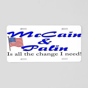 McCain & Palin - Change Aluminum License Plate