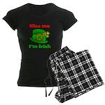 Kiss Me I'm Irish Hat ver2 Women's Dark Pajamas