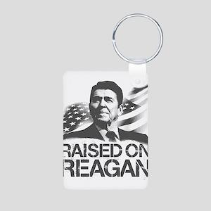 Raised on Reagan Aluminum Photo Keychain