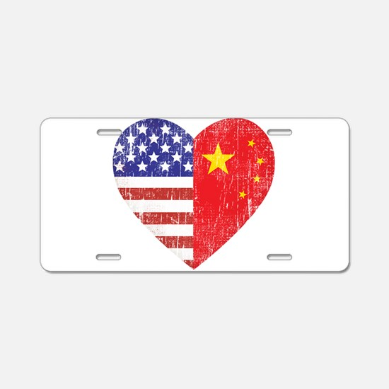 Family Heart Aluminum License Plate