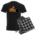 Fish Bowl Kitty Men's Dark Pajamas