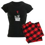 Black Cat and Rose Women's Dark Pajamas