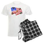 American Flag Butterflies Men's Light Pajamas