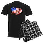 American Flag Butterflies Men's Dark Pajamas