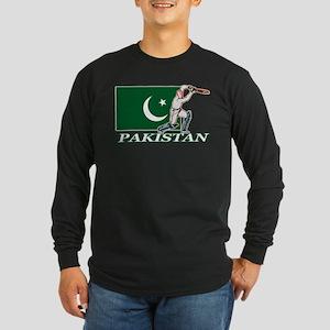 Pakistan Cricket Player Long Sleeve Dark T-Shirt
