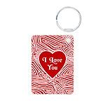 I Love You Heart Aluminum Photo Keychain