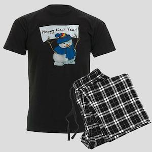 Happy New Years Snowman Men's Dark Pajamas