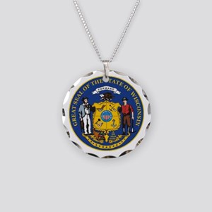 Wisconsin Crest Necklace Circle Charm