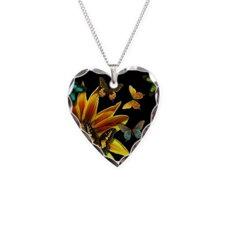 Butterfly Gardens Necklace Heart Charm