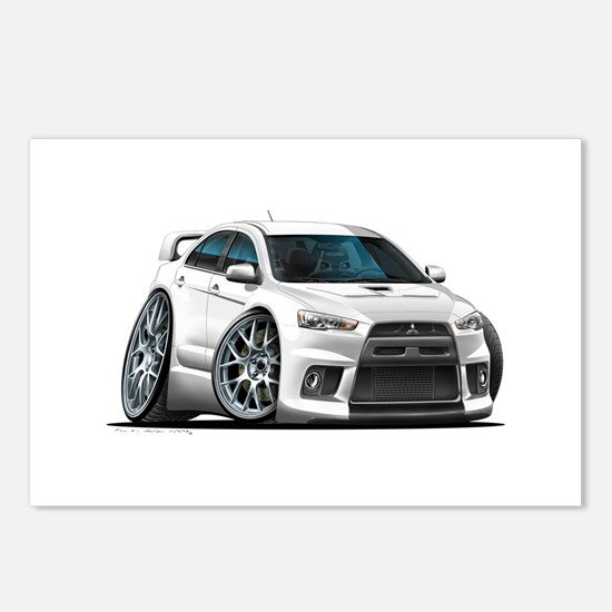 Mitsubishi Evo White Car Postcards (Package of 8)