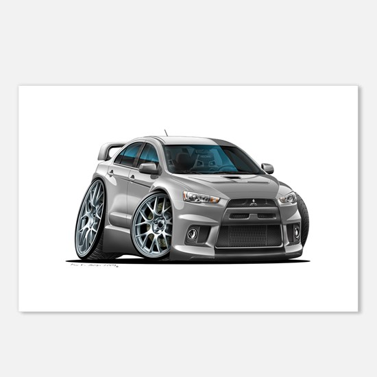 Mitsubishi Evo Silver Car Postcards (Package of 8)