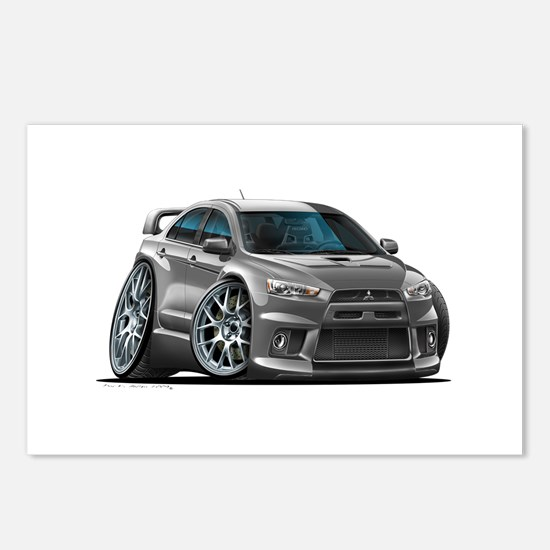 Mitsubishi Evo Grey Car Postcards (Package of 8)