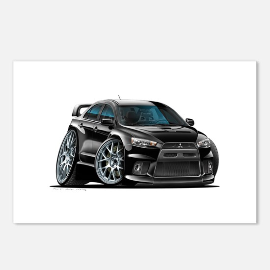 Mitsubishi Evo Black Car Postcards (Package of 8)