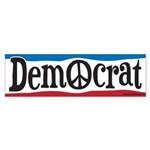 Democrat Peace Sign Sticker (Bumper)