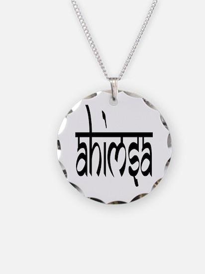 AHIMSA (BLACK) Circle Charm Necklace