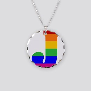 Rainbow Letter J Necklace Circle Charm