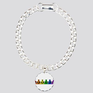 Row of Rainbow Buddha Statues Charm Bracelet, One
