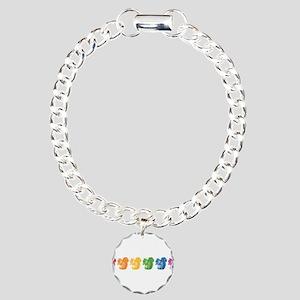 Rainbow Squirrels Charm Bracelet, One Charm