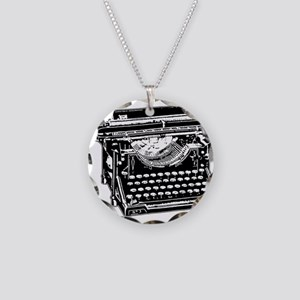Old Fashioned Typewriter Necklace Circle Charm