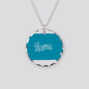 State Iowa Necklace Circle Charm