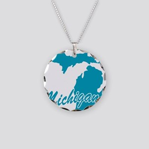 State Michigan Necklace Circle Charm