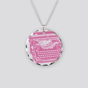 Pink Typewriter Necklace Circle Charm
