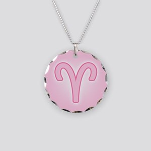 Pink Zodiac Aries Necklace Circle Charm