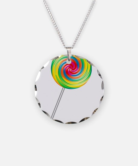Swirly Lollipop Necklace Circle Charm