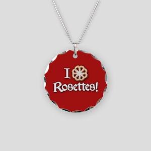 I Love Rosettes Necklace Circle Charm