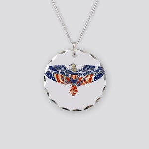 Retro Eagle and USA Flag Necklace Circle Charm