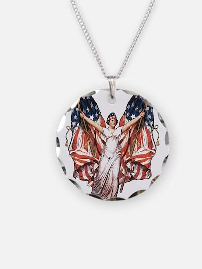 Vintage American Flag Art Necklace